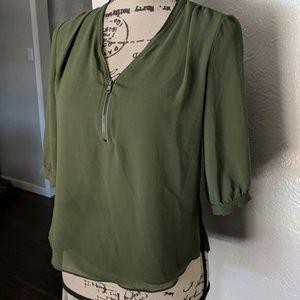 Green zipper blouse